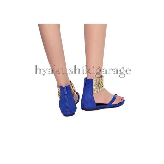 new!!26.5cm ゴールドアンクレットサンダル ブルー ぺたんこ サマー レディースの靴/シューズ(サンダル)の商品写真