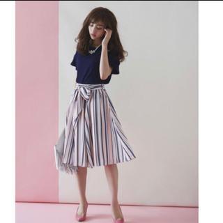 トッコ(tocco)の即完売!♡tocco closet♡マルチストライプリボン付きスカート(ひざ丈スカート)