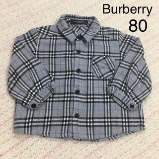 BURBERRY - バーバリー 襟付き 長袖 チェック グレー 80 秋冬 三陽商会 ファミリア