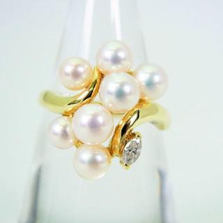 K18 天然アコヤ真珠(パール)ダイヤモンド リング 12号[f51-14](リング(指輪))
