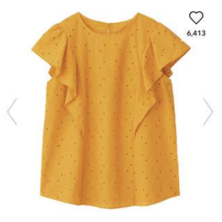 ジーユー(GU)のコットンレースフリルブラウス 黄色 ジーユー(シャツ/ブラウス(半袖/袖なし))