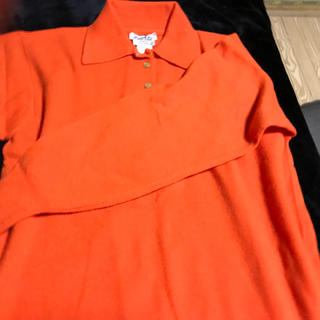 エルメス(Hermes)のエルメスカシミヤセーターオレンジ襟とっても!(ニット/セーター)