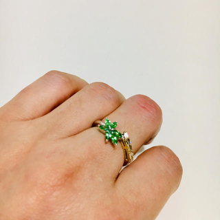 18k 2トーン ツァボライト&ブラウンダイヤリング(リング(指輪))