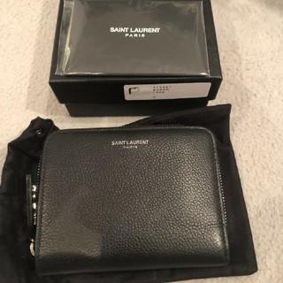 サンローラン(Saint Laurent)のサンローランパリ 二つ折り 財布 コンパクト ブラック レザー 中古 正規品(折り財布)