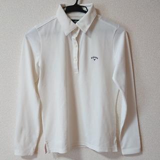 キャロウェイ(Callaway)の【ほぼ新品】キャロウェイ ゴルフ 長袖ポロシャツ 白(ポロシャツ)