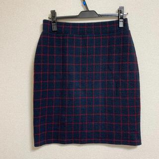 ベルメゾン - ネイビー × 赤チェック カットソータイトスカート