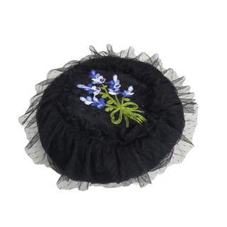 カシラ(CA4LA)のCA4LA 花刺繍 チュール ベレー帽(ハンチング/ベレー帽)