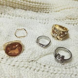 アングリッド(Ungrid)のゴールド シルバー リング 指輪 セット  重ね付け ミル チェーン(リング(指輪))