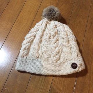 サマンサモスモス(SM2)のSM2 ファー付きケーブル編みニット帽(ニット帽/ビーニー)