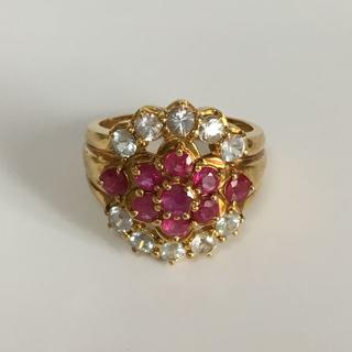 K18 ルビー×ホワイトサファイヤ デザインリング 指輪(リング(指輪))