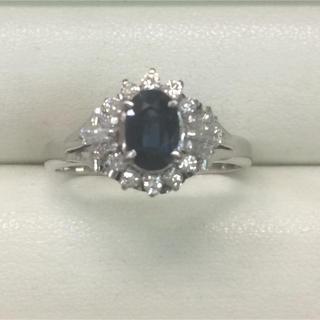 ★大きめの20号★プラチナPt900サファイア&ダイヤモンドリング★1.75ct(リング(指輪))