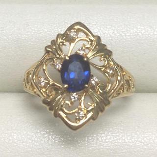 ★大きめ20号★K18サファイア&ダイヤモンド・デザインリング★S0.73ct(リング(指輪))