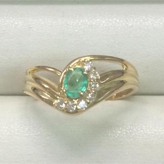 ★大きめの20号★K18エメラルド&ダイヤモンド・デザインリング★0.30ct(リング(指輪))