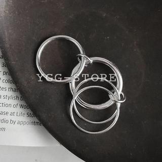 YGG★新品 4連 リング 指輪 リンク シルバー925 9号~10号 即納(リング(指輪))