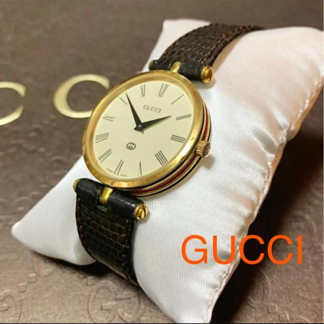 Gucci - OLD GUCCI クォーツ ビッグフェイス腕時計 レザーベルト シェリーラインの通販 by jun's shop|グッチならラクマ