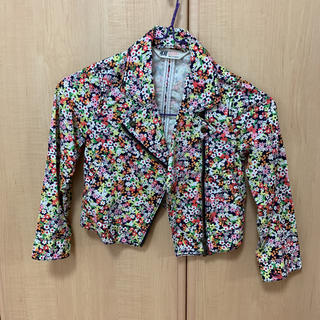エイチアンドエム(H&M)の花柄ライダースジャケット 110センチ(ジャケット/上着)