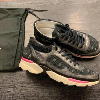 シャネル(CHANEL)の希少美品★シャネル★ココマーク ツイード スニーカー 靴 レザー レディース(スニーカー)