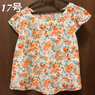 【値下げ】オレンジ系花柄シフォンブラウス