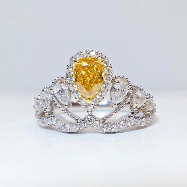 gia0.5ctファンシーインテェンスオレンジイエロー指輪 レディースのアクセサリー(リング(指輪))の商品写真