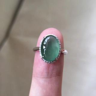 560 キャンペーンk18金リング ゴールド 楕円 翡翠リング ダイヤモンドリ(リング(指輪))