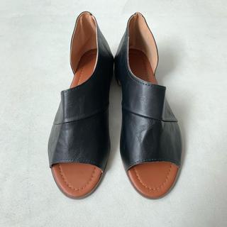 ZARA - Design Flat Sandals / ブラック 24.5cm