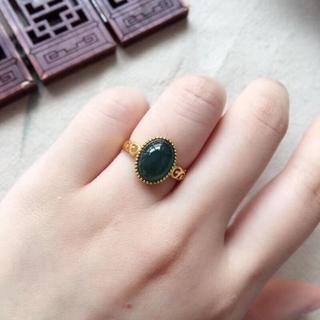565 キャンペーンk18金リング ゴールド 楕円 黄翡翠リング ダイヤモンド(リング(指輪))