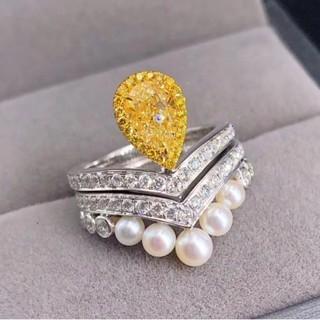 ♡F.L.Yellowダイヤモンド阿古屋真珠リング(リング(指輪))