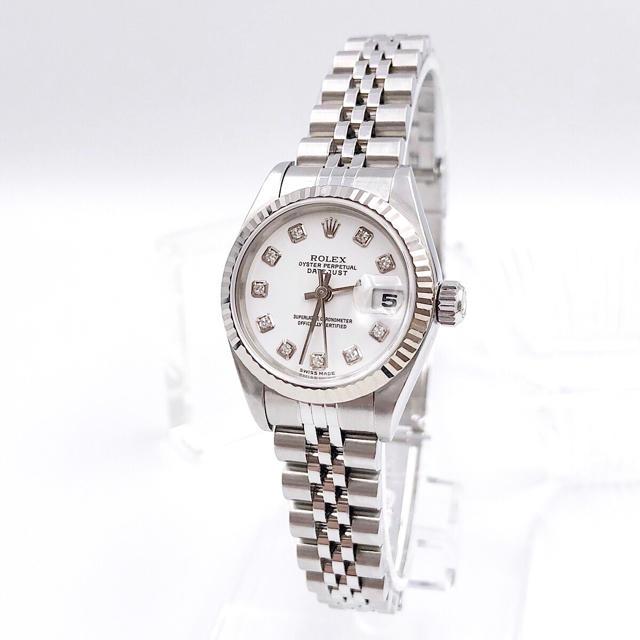ROLEX - 【保証書付】ロレックス 10P ダイヤ ホワイト文字盤 レディース 腕時計の通販 by LMC|ロレックスならラクマ