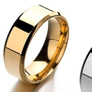 シンプル甲丸指輪 メンズリング 指輪 男性 鏡面 フラット 平打ち ゴールド(リング(指輪))