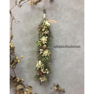 アナベルと朱色の野バラが可愛いらしい ドアチャーム ガーランド ドライフラワー(ドライフラワー)