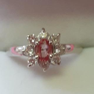 オレンジッシュレッドサファイアとダイアモンドの指輪(リング(指輪))