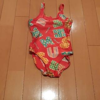 ミキハウス(mikihouse)のミキハウスMIKI HOUSE赤×ロゴワンピース水着110サイズ(水着)
