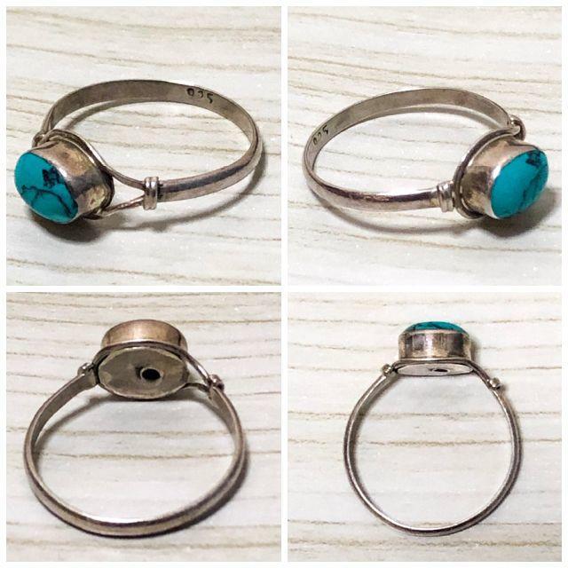 インディアンジュエリー ターコイズ × シルバー925 リング 一点物 タイプC レディースのアクセサリー(リング(指輪))の商品写真