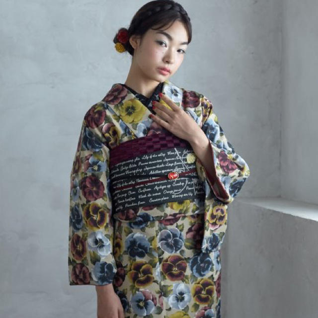 ふりふ(フリフ)のふりふ パンジー 袷 着物 豆千代モダン レディースの水着/浴衣(着物)の商品写真