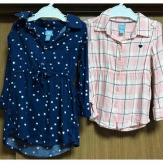 ベビーギャップ(babyGAP)のbabyGAP♡星柄シャツワンピ&ピンクチェックシャツ 2点set(ブラウス)