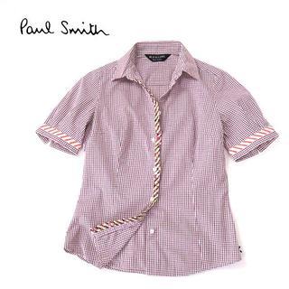 ポールスミス(Paul Smith)のPaulSmith BLACK LABEL 花柄使い◎ラインチェックシャツ(シャツ/ブラウス(半袖/袖なし))