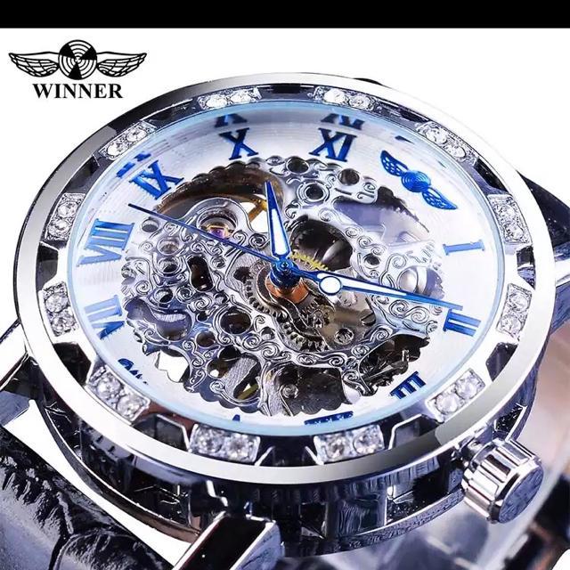腕時計 スケルトン シルバー ブルー 自動巻きの通販 by クリボー's shop|ラクマ