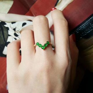 568 キャンペーンk18金リング ゴールド 楕円 黄翡翠リング ダイヤモンド(リング(指輪))