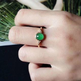 570 キャンペーンk18金リング ゴールド 楕円 黄翡翠リング ダイヤモンド(リング(指輪))
