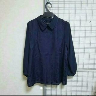 1枚でコーデラクチン❇キチッと感を演出❤隠れシャドーの襟つきトップス✨(シャツ/ブラウス(長袖/七分))