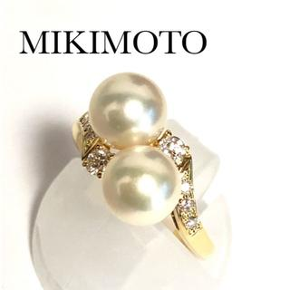 ミキモト(MIKIMOTO)のミキモト k18YG アコヤパール 7mm ダイヤモンド リング 8号(リング(指輪))