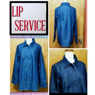 リップサービス(LIP SERVICE)の新品/リップサービス/スナップボタンのキレイなデニムシャツ/丈長め/フリー(シャツ/ブラウス(長袖/七分))