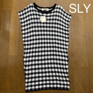 スライ(SLY)の新品タグ付  SLY  ブロックチェック  トップス ワンピース(Tシャツ(半袖/袖なし))