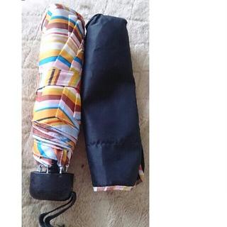 ポールスミス(Paul Smith)のポール・スミス 廃番 黒地にスワール柄マルチボーダー折り畳み傘 男女兼用(傘)