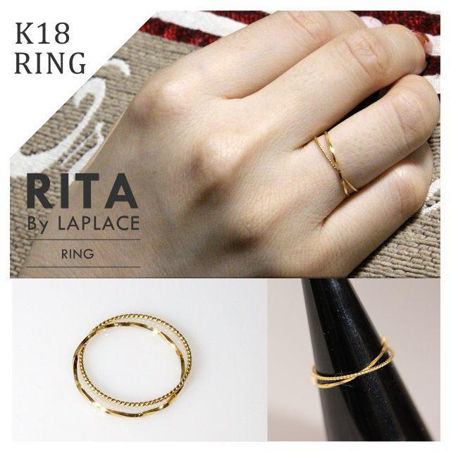 K18 2連 極細リング ピンキーリング レディースのアクセサリー(リング(指輪))の商品写真