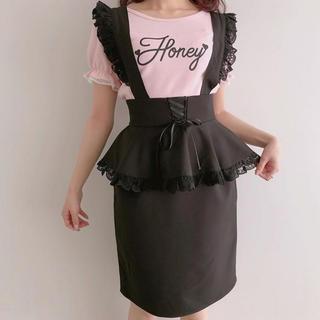 ハニーシナモン(Honey Cinnamon)のhoneycinnamon サス付きペプラムスカート ブラック(ひざ丈スカート)