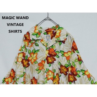 VERSACE - MAGIC WAND 総柄 花柄 M レーヨン オープンカラーシャツ