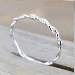 18号*ジルコニアライン*ねじりツイストリング指輪*Silver925*シルバー(リング(指輪))