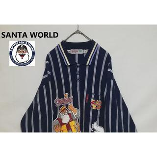 90'S キャプテンサンタ サンタワールド XL ストライプポロシャツ 刺繍ロゴ(シャツ)