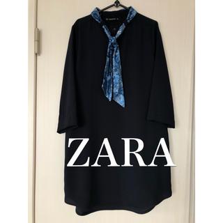ZARA - 美品  ZARABASICのスカーフ&ポケット付き膝丈ワンピース